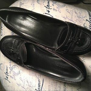 Franco Sarto Black Leather Slip On Loafer